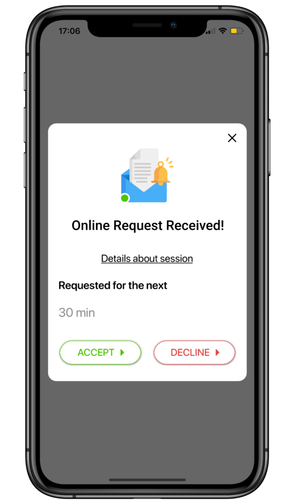 screenshot of online lesson request at Yourtime